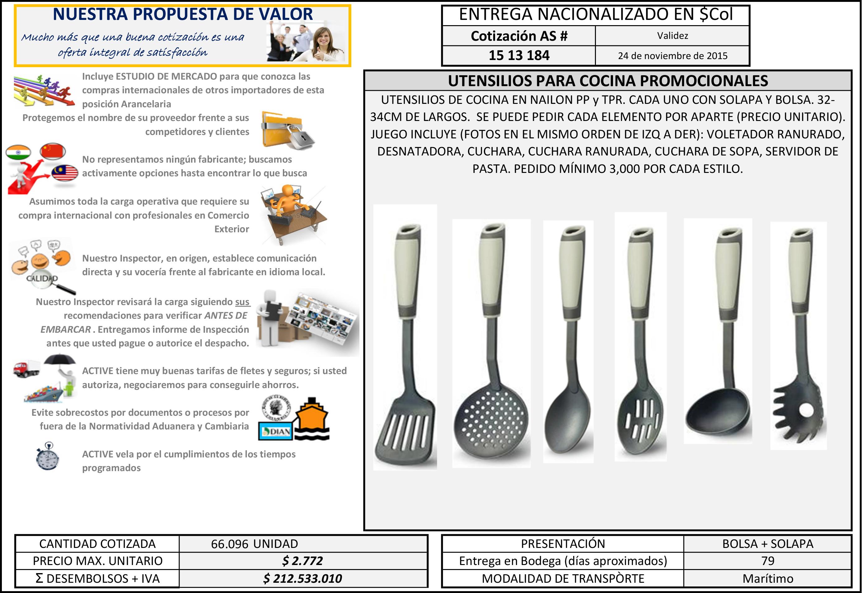 Utensilios para cocina promocionales active products for Utensilios de cocina nombres e imagenes